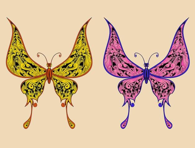 異なる色のイラストと2つの蝶の装飾品のアートワーク