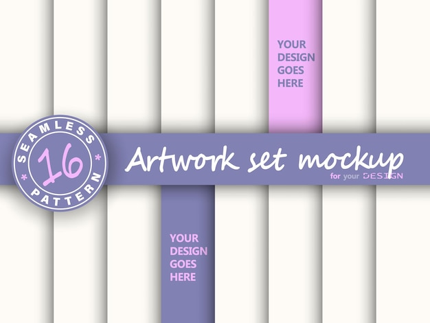 Artwork set mockup. abstract background. paper set. mock up paper layers.