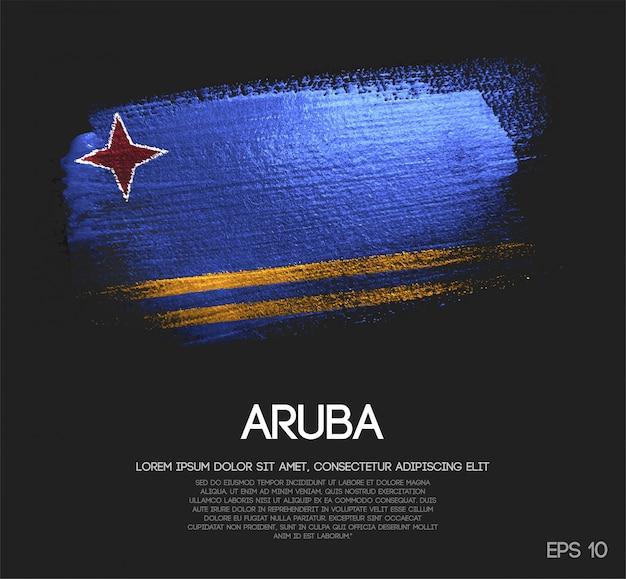 Aruba flag made of glitter sparkle brush paint vector