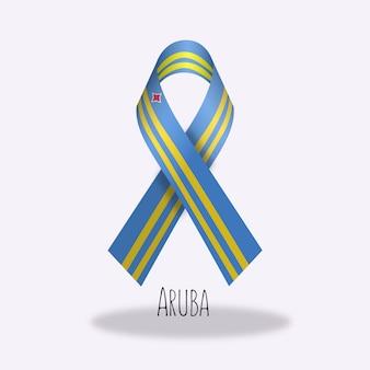 Aruba flag ribbon design