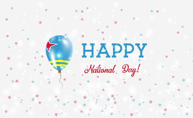 아루바 국경일 애국 포스터. aruban 국기의 색상에 고무 풍선을 비행. 풍선, 색종이 조각, 별, 보케, 반짝임이 있는 아루바 국경일 배경.
