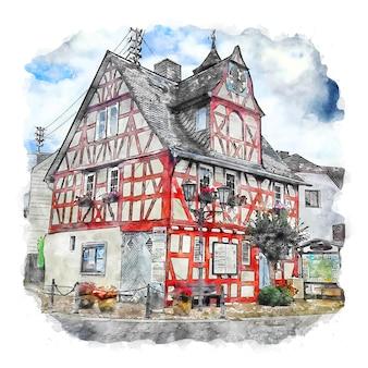 Arzbach 독일 수채화 스케치 손으로 그린 그림