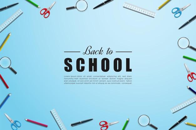 Asa青い背景に学用品が散らばっている学校に戻る