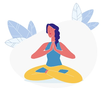 Asana, yoga exercise flat vector illustration