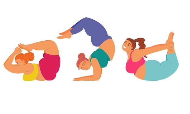 아사나 요가 세트 요가 요가를하는 뚱뚱한 여성은 건강 신체 긍정적이고 자기애를 위해 포즈를 취합니다.