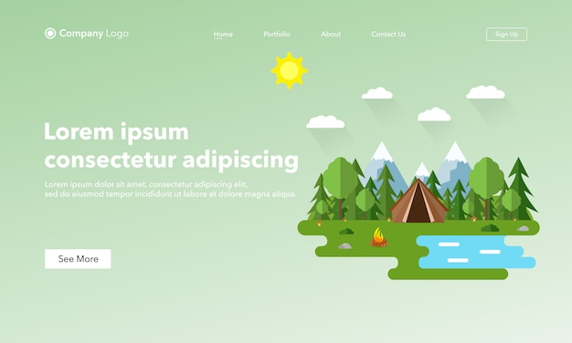 Целевая страница сайта asbtract. летний пейзаж в плоском стиле.