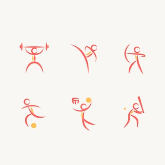 Asbtractスタイルでオリンピックスポーツアイコンのセット