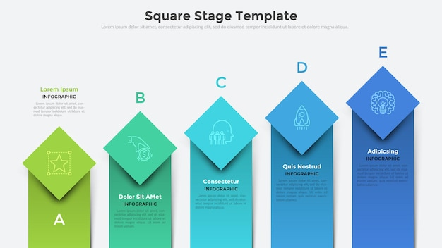 Ascending bar chart with 5 colorful square or rectangular elements placed in horizontal row. creative infographic design template. vector illustration for business project development visualization.