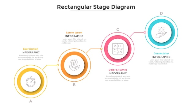 Восходящая диаграмма с 4 соединенными красочными круглыми элементами. концепция четырех ступеней прогрессивного развития бизнеса. минимальный инфографический шаблон дизайна. плоские векторные иллюстрации для презентации.