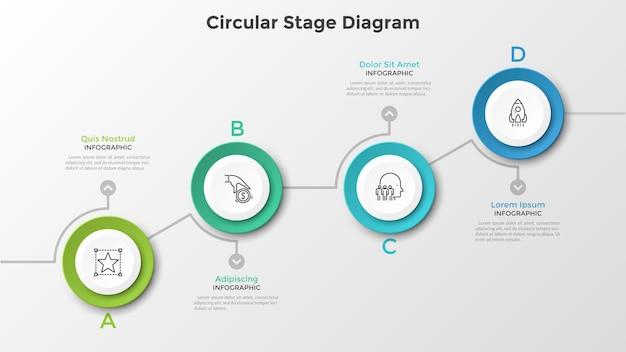 4つの丸い紙の白い要素を持つ昇順のグラフ。円形ステージの有向グラフ。モダンなインフォグラフィックデザインテンプレート。ビジネスの成長と進歩的な開発の視覚化のためのベクトル図。