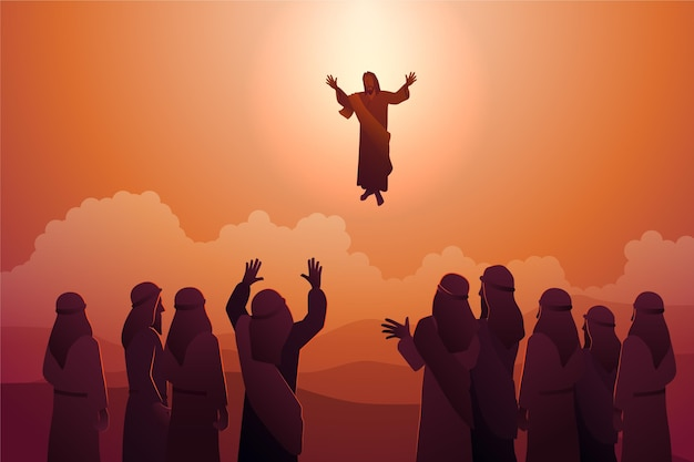 Ascension day illustration with jesus christ
