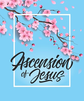 Ascension of jesus poster with cherry tree