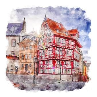アシャッフェンブルクドイツ水彩スケッチ手描きイラスト