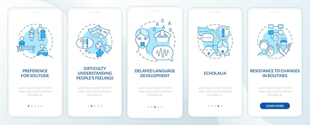 Asd signs onboarding mobile app page screen. preference to loneliness, echolalia walkthrough 5 steps graphic instructions with concepts. ui, ux, gui vector template with linear color illustrations