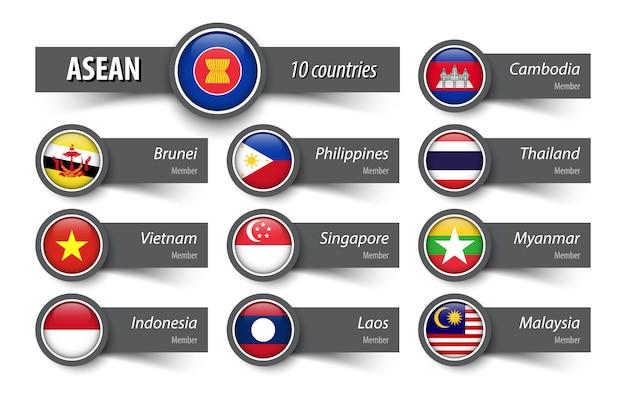 Aseanと会員 Premiumベクター