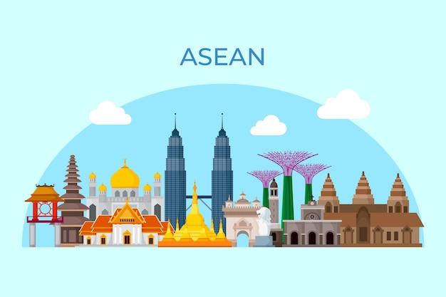 Asean buildings illustration