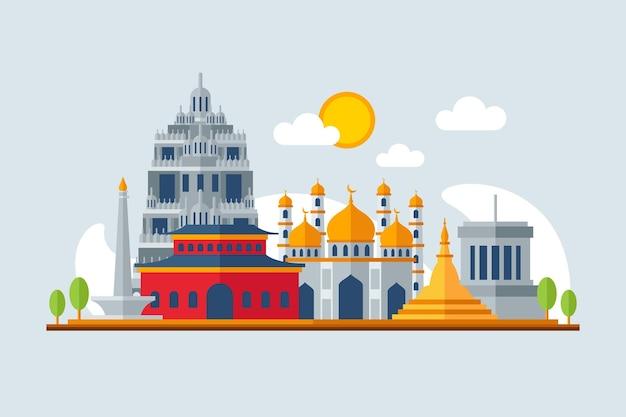 アセアンの建物のイラスト