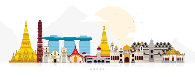 Asean buildings illustration