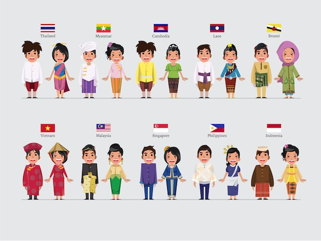 Asean character in traditional set