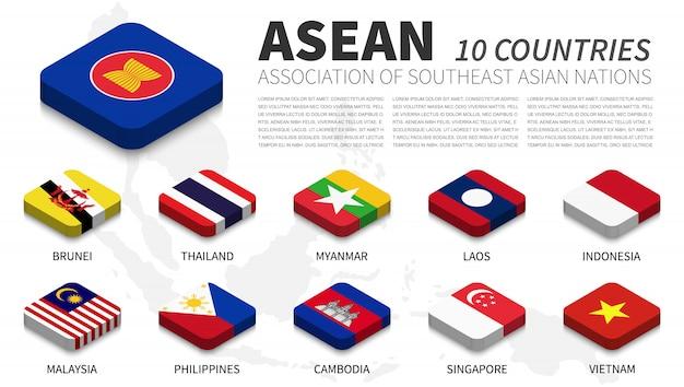 Aseanの国旗と加盟国および東南アジアの地図背景。等尺性のトップデザイン。ベクトル