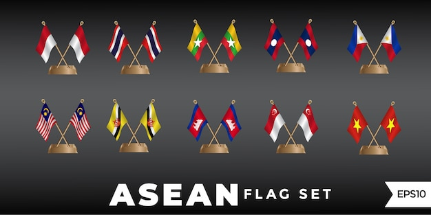 Asean flag design template vector
