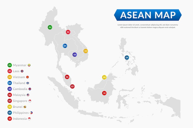 Asean map flat design illustration