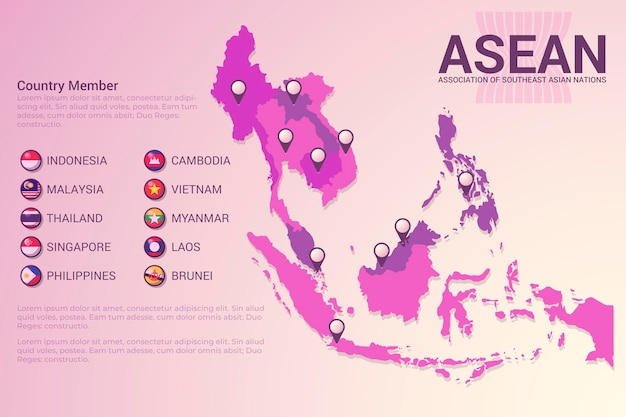 Asean map in gradient pink