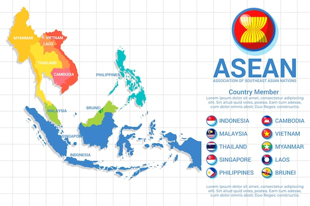 Asean map in various colors