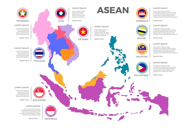 Asean map on white background