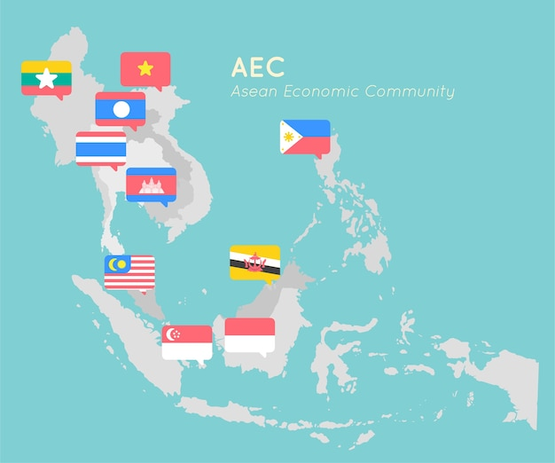Asean map with point flag flat design