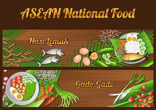 Asean national food ingredients elements set banner