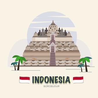 ボロブドゥール。インドネシアのランドマーク。 aseanセット。