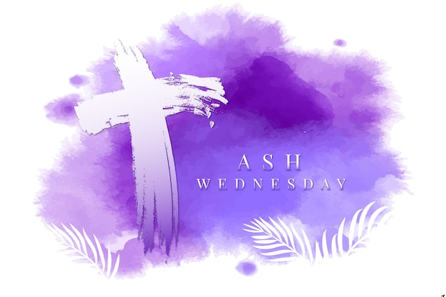 Ash wednesday background in watercolor