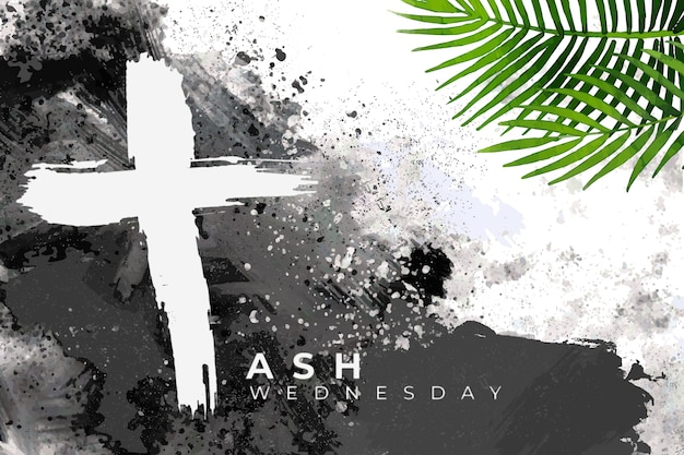 Ash wednesday background with leaves