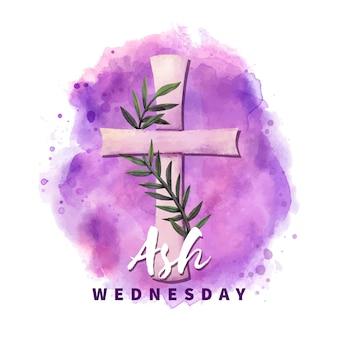 紫の水彩で灰の水曜日の十字架