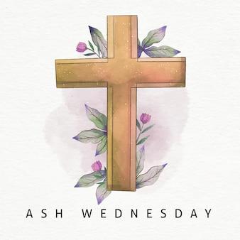 灰の水曜日の十字架の水彩画