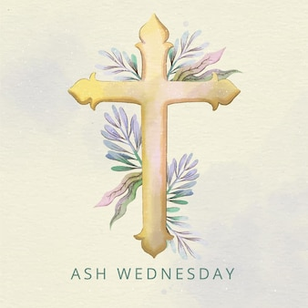 Ash wednesday cross in watercolor