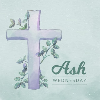 Ash wednesday cross in watercolor