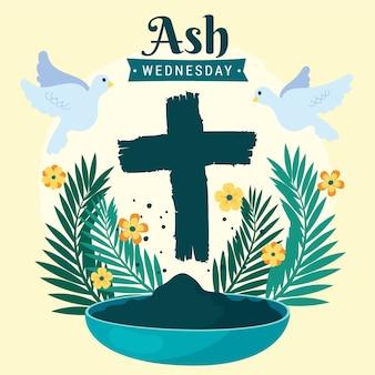 애쉬 수요일 손으로 그린 꽃과 십자가