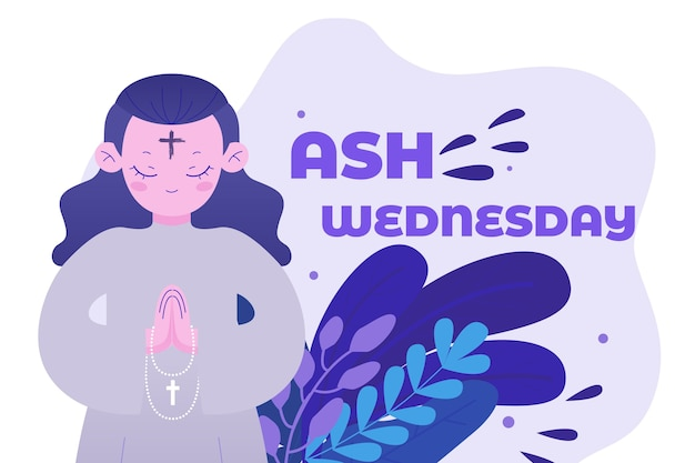 Ash wednesday illustration in flat design