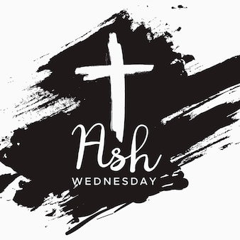 Ash wednesday lettering on black paint stroke