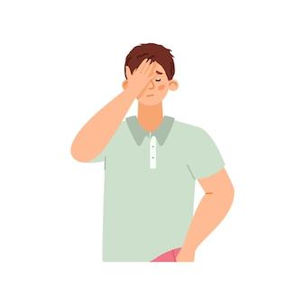 얼굴을 가리고 있는 부끄럽거나 실망한 남자, 고립된 평평한 벡터 삽화.