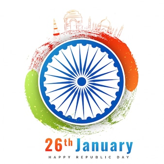 Ashoka chakra with doodle monuments of india, republic day background.