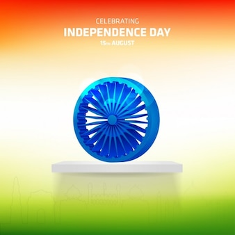 Ashoka wheel on abstract independence day flag