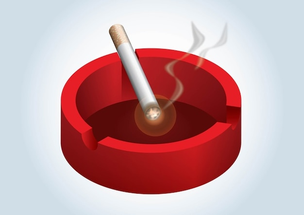 Ashtray in red with lighted cigarette