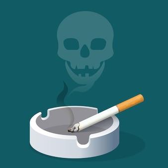 煙で作られたタバコと頭蓋骨の灰皿。セラミックトレイにフィルター付きの喫煙タバコ。有害な習慣の危険性を警告するリアルなイラスト。健康へのリスクを伴う中毒