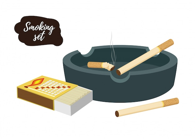 たばこの吸い殻付き灰皿、マッチ箱