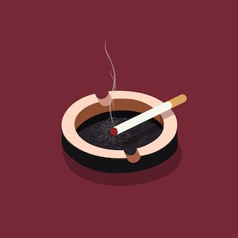 Ashtray with cigarette, cigarette, isometric illustrations of cigarettes.