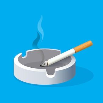 青い背景に火のついたタバコと灰皿。セラミックトレイにフィルター付きの喫煙タバコ。有害な習慣のリアルなイラスト。喫煙場所。健康へのリスクを伴う中毒