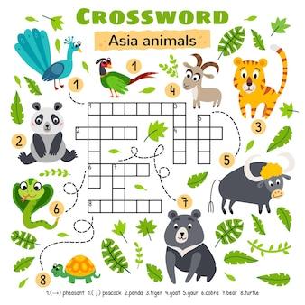 Asia animals crossword Premium Vector
